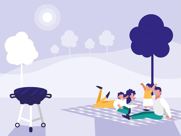 Jolie Famille Dans Le Parc Avec Pique-nique Vecteur Premium