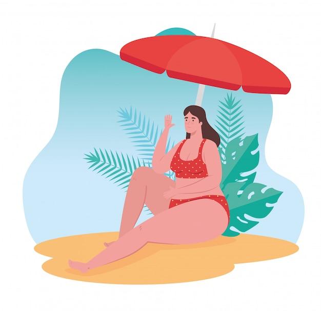 Jolie Femme Dodue En Maillot De Bain Assis Sur La Plage, Saison Des Vacances D'été Vecteur Premium
