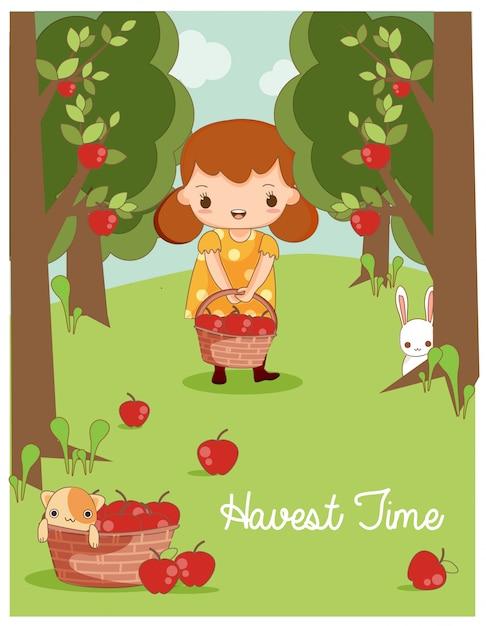 Jolie fille et un ami animal vecteur récolte des pommes dans la ferme Vecteur Premium