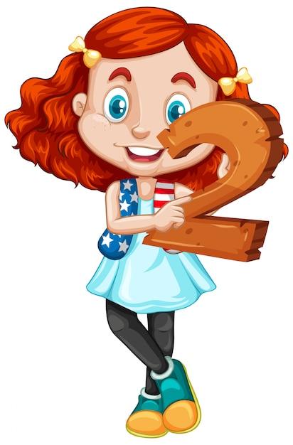 Jolie Fille Aux Cheveux Rouges Tenant Le Numéro De Maths Deux Vecteur gratuit