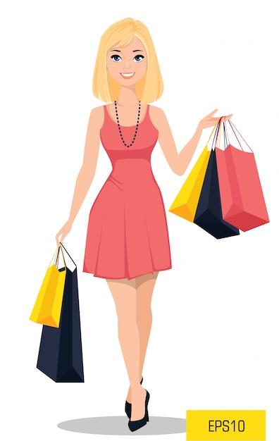 Jolie fille de bande dessinée dans une belle robe Vecteur Premium