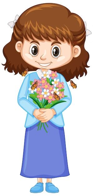 Jolie Fille Avec De Belles Fleurs Sur Blanc Vecteur gratuit