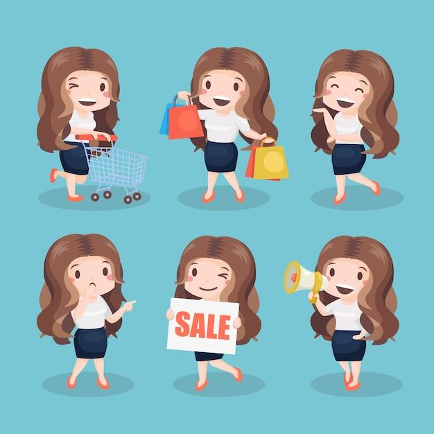 Jolie fille cheveux longs avec pack de vêtements Vecteur Premium
