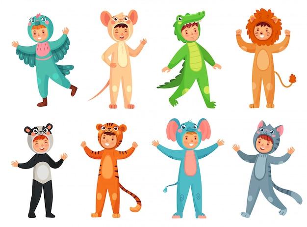 Jolie Fille En Costume De Panda, Petit Garçon En Costume D'éléphant Et Mascotte De Fête Pour Enfants Vector Illustration Set Vecteur Premium
