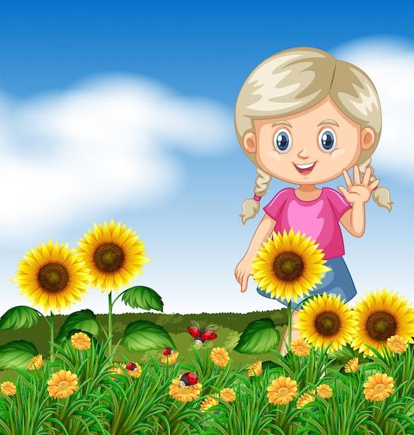 Jolie fille dans le jardin de tournesol Vecteur Premium