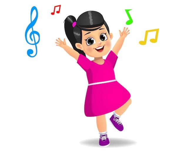 Jolie Fille Dansant Sur De La Musique Vecteur Premium