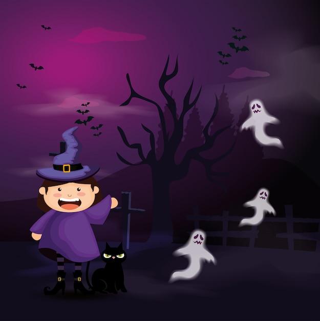 Jolie Fille Déguisée De Sorcière En Illustration Halloween Scène Vecteur Premium