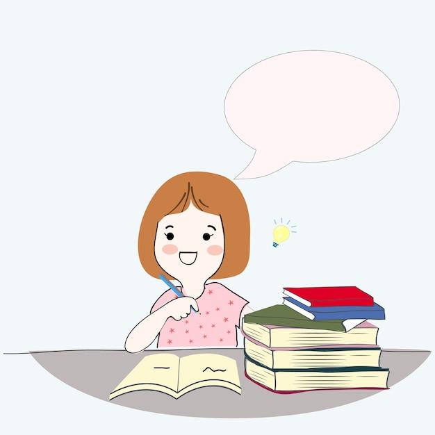 Jolie Fille Ecrivant Et Lisant Le Livre De Dessin Anime
