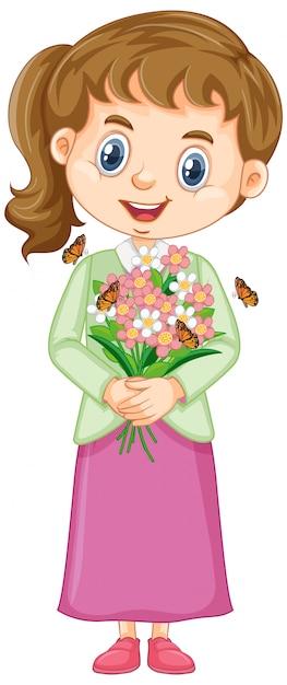 Jolie Fille Avec Des Fleurs Sur Blanc Vecteur gratuit