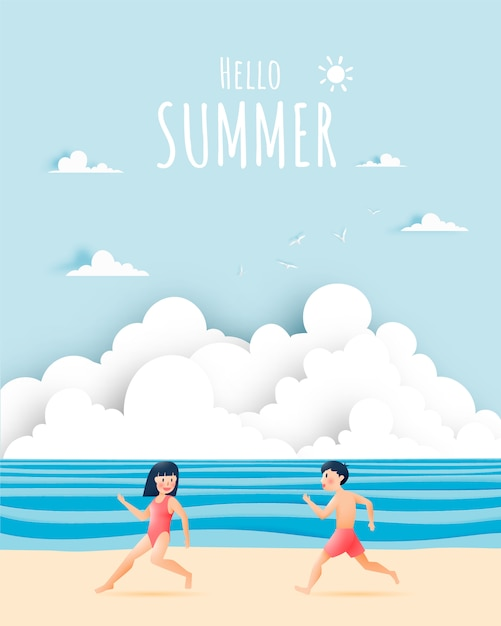 Jolie fille et garçon avec illustration de belle plage Vecteur Premium