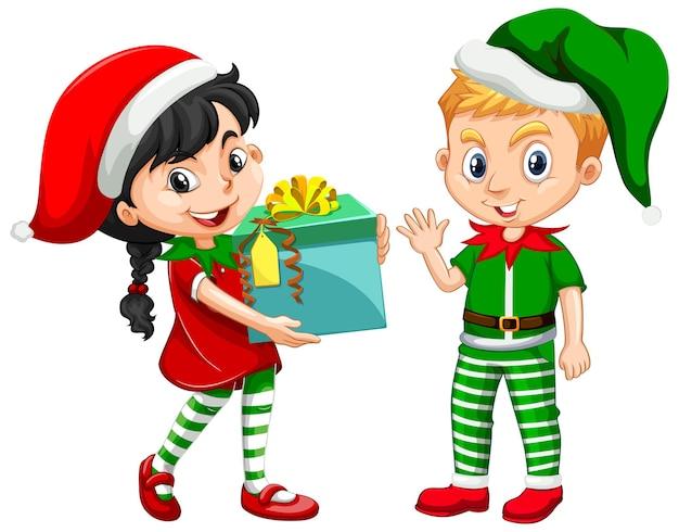 Jolie Fille Et Garçon En Personnage De Dessin Animé De Costume De Noël Vecteur gratuit
