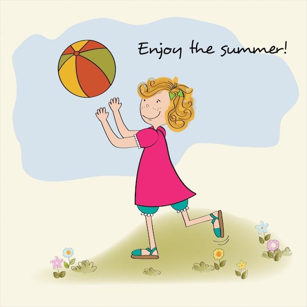 Jolie fille joue au ballon, profitez des vacances d'été Vecteur Premium