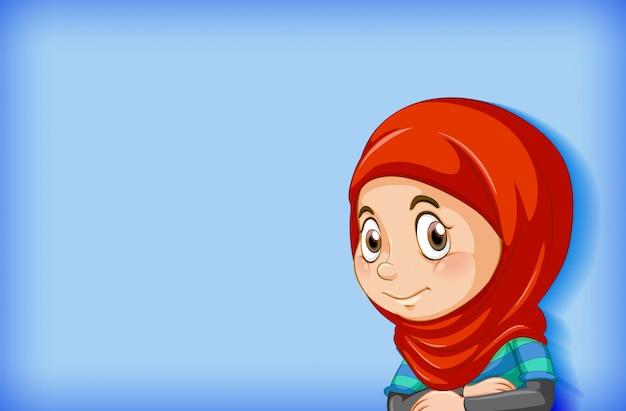 Jolie Fille Musulmane Sur Fond Bleu Vecteur gratuit
