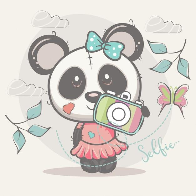 Jolie Fille Panda Selfie Vecteur Premium