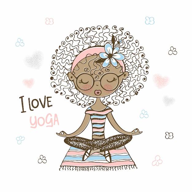 Jolie Fille à La Peau Foncée Assise En Position Du Lotus. J'adore Le Yoga. Vecteur Premium