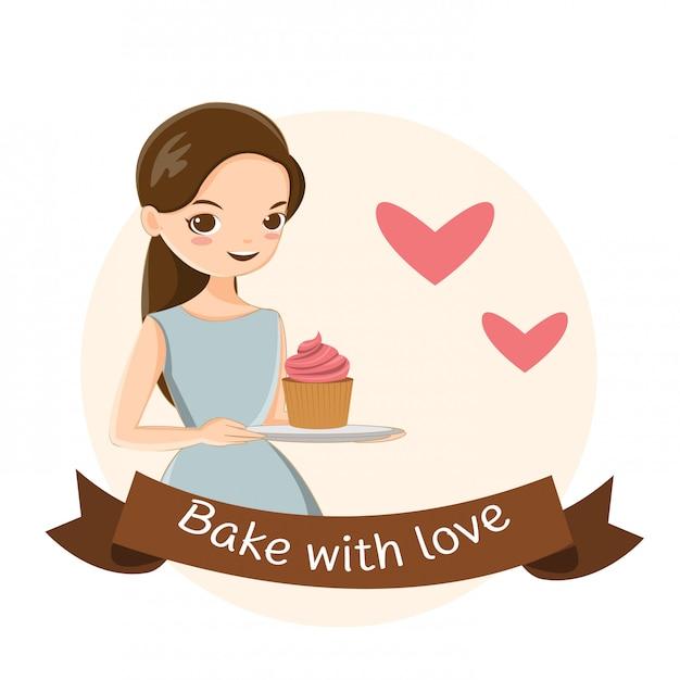 Jolie fille et petit gâteau Vecteur Premium