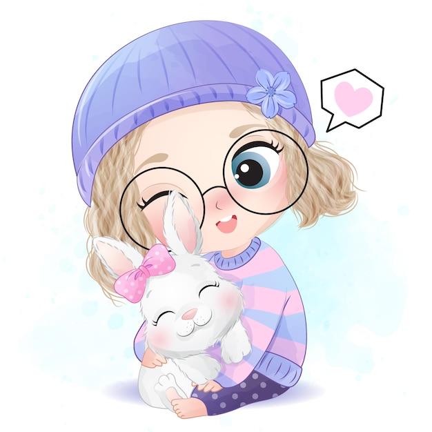 Jolie Fille Avec Une Petite Illustration De Lapin Vecteur Premium