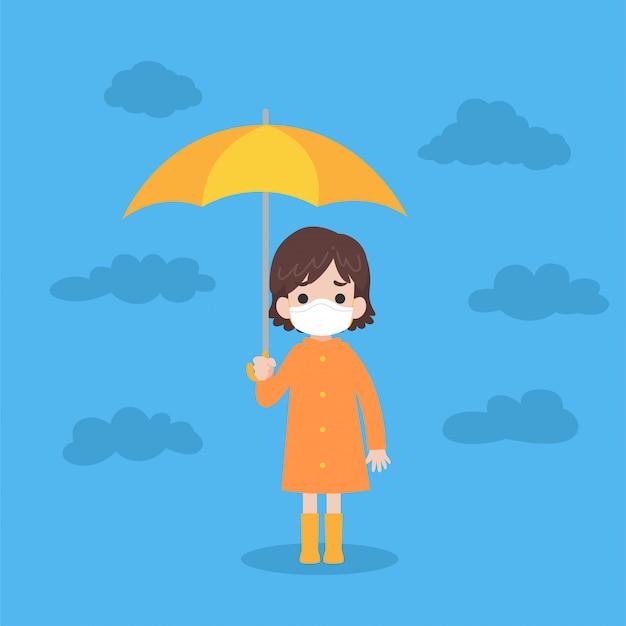 Jolie fille portant un imperméable orange avec un parapluie jaune Vecteur Premium