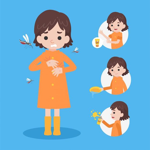 Une jolie fille qui porte un imperméable a un blister de moustique dengue Vecteur Premium