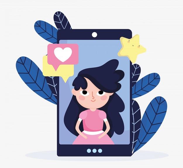 Jolie Fille Smartphone Bulle De Dialogue Amour Médias Sociaux Vecteur Premium