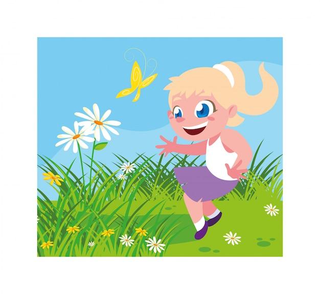 Jolie fille souriante et jouant à l'extérieur Vecteur Premium
