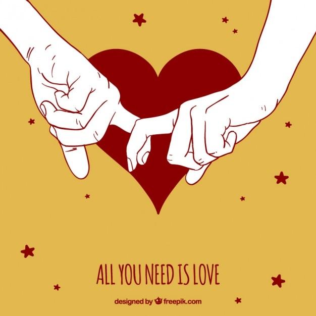 Jolie fond des mains du couple ensemble Vecteur gratuit