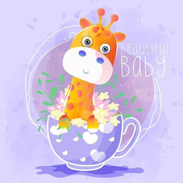 Jolie girafe dans la tasse à thé Vecteur Premium