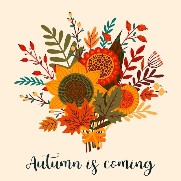 Jolie illustration avec bouquet d'automne. Vecteur Premium