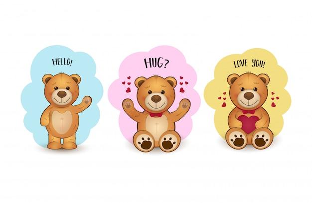 Jolie illustration avec des ours Vecteur Premium