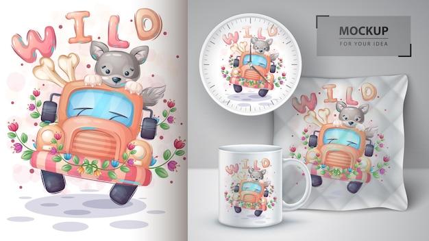 Jolie Illustration De Voyage De Loup Et Merchandising Vecteur Premium