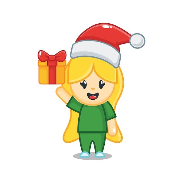 Jolie Infirmière De Noël Avec Boîte-cadeau Vecteur Premium