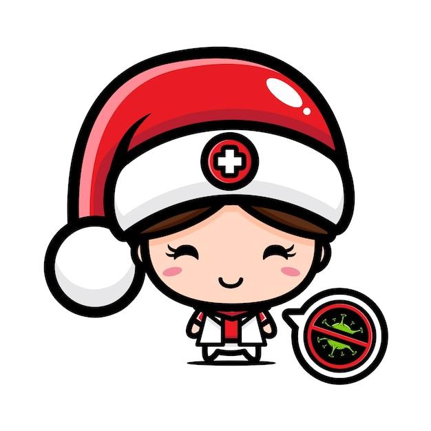 Jolie Infirmière Portant Bonnet De Noel Vecteur Premium
