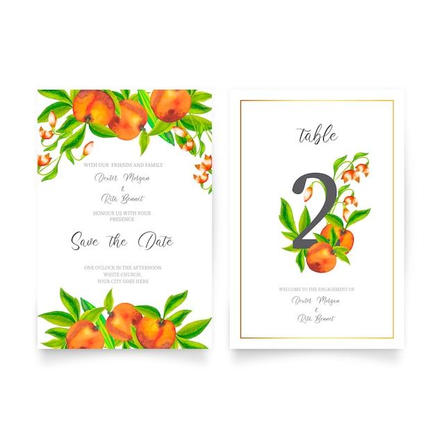 Jolie invitation de mariage avec des fruits à l'aquarelle Vecteur gratuit