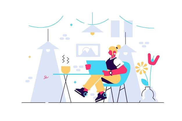 Jolie Jeune Femme Assise Sur Une Chaise Confortable Avec Un Ordinateur Portable Dans Une Chambre Confortable. Vecteur Premium