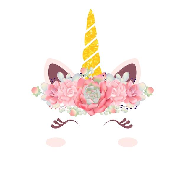 Jolie licorne florale Vecteur Premium