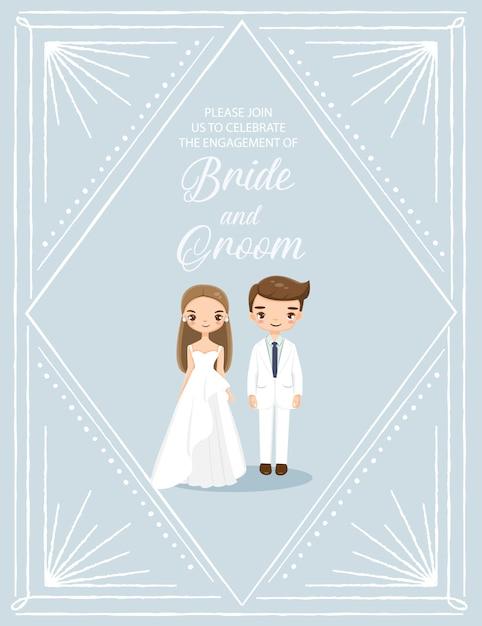 Jolie mariée et le marié dans la carte d'invitations de mariage art déco Vecteur Premium