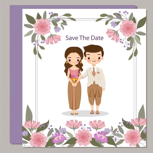 Jolie mariée thaïlandaise en costume traditionnel sur carte d'invitations de mariage fleur Vecteur Premium
