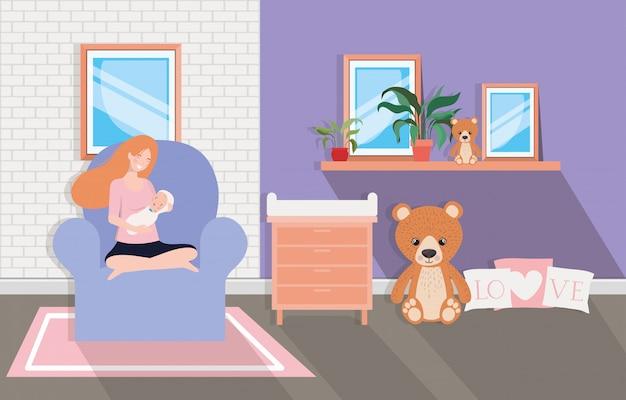 Jolie mère avec bébé nouveau-né dans le salon Vecteur gratuit