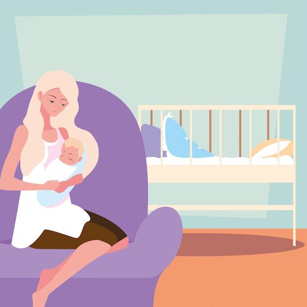 Jolie mère portant son personnage d'avatar Vecteur Premium