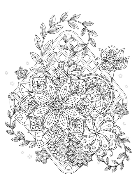 Jolie Page De Coloriage Floral En Ligne Exquise Vecteur Premium