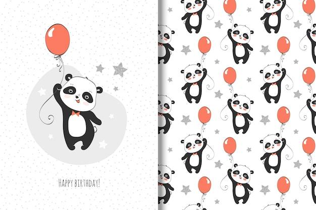 Jolie petite carte panda et modèle sans couture pour enfants Vecteur Premium