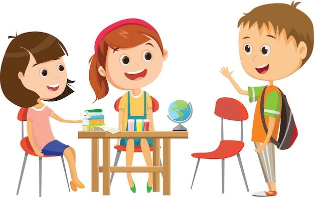Jolie petite écolière attendant l'un de ses camarades de classe au bureau pour étudier Vecteur Premium