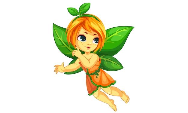 Jolie petite fée orange qui vole Vecteur Premium