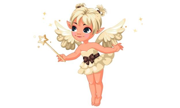 Jolie petite fée vanille tenant une baguette magique Vecteur Premium