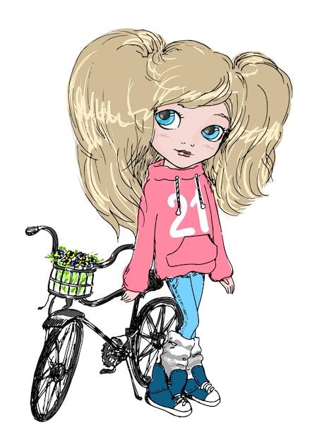 Jolie petite fille à bicyclette Vecteur Premium