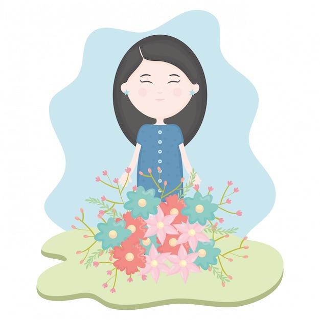 Jolie petite fille avec bouquet floral dans le champ Vecteur gratuit