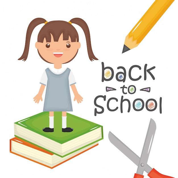 Jolie petite fille étudiante avec des livres et des fournitures. retour à l'école Vecteur gratuit