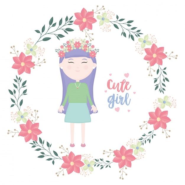 Jolie Petite Fille Avec Personnage De Couronne Florale Vecteur gratuit