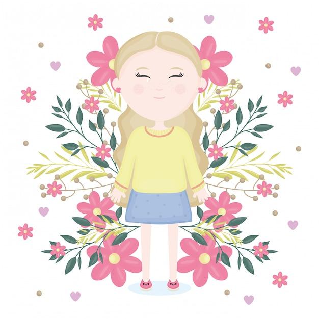 Jolie petite fille avec personnage de décoration florale Vecteur gratuit