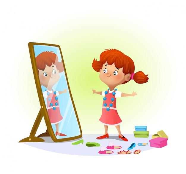 Jolie Petite Fille Regardant Dans Le Miroir Vecteur Premium
